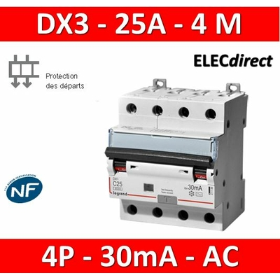 LEGRAND - Disjoncteur Différentiel  DX3  4P - 25A - 30MA - AC - 411188