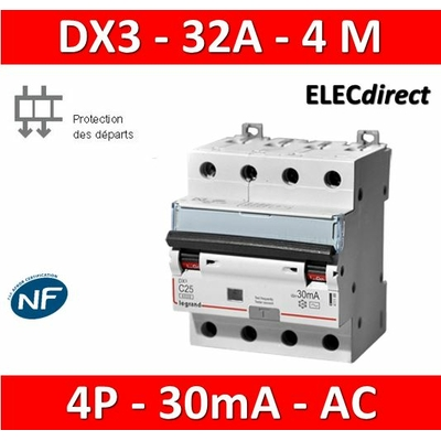 LEGRAND - Disjoncteur Différentiel  DX3  4P - 32A - 30MA - AC - 411189