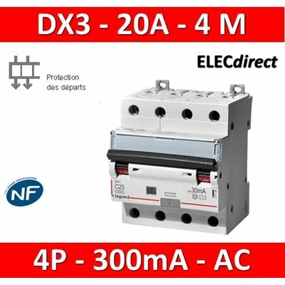 LEGRAND - Disjoncteur Différentiel  DX3  4P - 20A - 300MA - AC - 411206