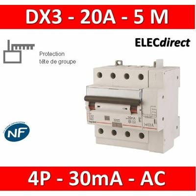 LEGRAND - Disjoncteur différentiel DX3 4P - 20A - 30ma - AC - 411198