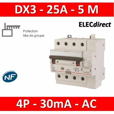 LEGRAND - Disjoncteur différentiel DX3 4P - 25A - 30ma - AC - 411199