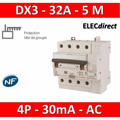 LEGRAND - Disjoncteur différentiel DX3 4P - 32A - 30ma - AC - 411200
