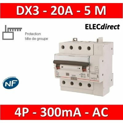 LEGRAND - Disjoncteur différentiel DX3 4P - 20A - 300ma - AC - 411217
