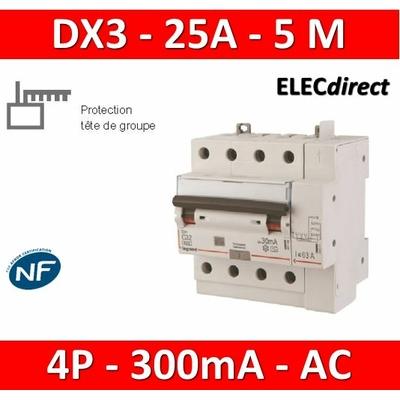 LEGRAND - Disjoncteur différentiel DX3 4P - 25A - 300ma - AC - 411218