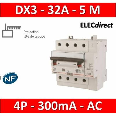 LEGRAND - Disjoncteur différentiel DX3 4P - 32A - 300ma - AC - 411219