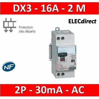 LEGRAND - Disjoncteur différentiel DX3 2P - 16A - 30ma - AC - 410705