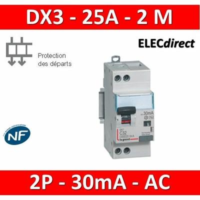 LEGRAND - Disjoncteur différentiel DX3 2P - 25A - 30ma - AC - 410707