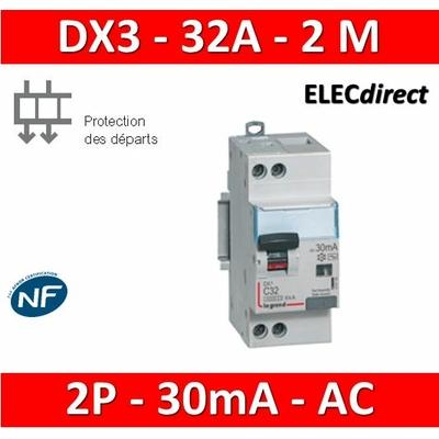 LEGRAND - Disjoncteur différentiel DX3 2P - 32A - 30ma - AC - 410708