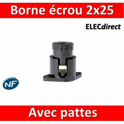 Legrand - Borne écrou 6 pans avec pattes 2 x 25 mm2 - 034043
