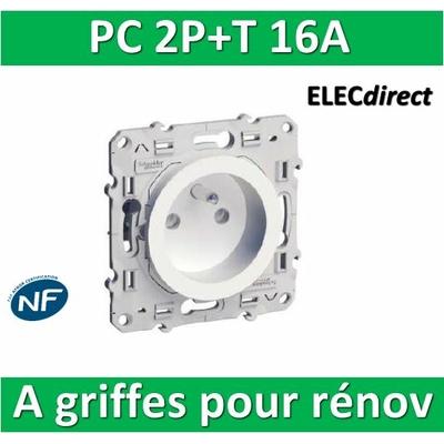 Schneider Odace - Prise de courant - 2P+T 16A - 250V à griffes pour rénovation - s525059