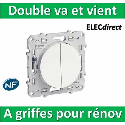 Schneider Odace - Double Va-et-vient - 10A - 250V à griffes pour rénovation - s525214