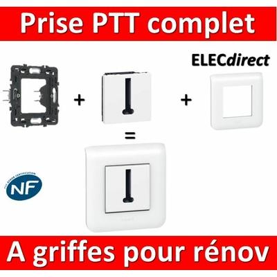 Legrand Mosaic - Prise PTT complet - 1 poste (2M) - à griffes pour rénovation