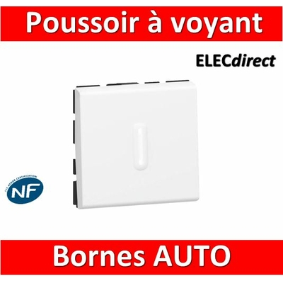Legrand Mosaic - Bouton poussoir - 2 modules - 6A - 230V à voyant LED - 077042