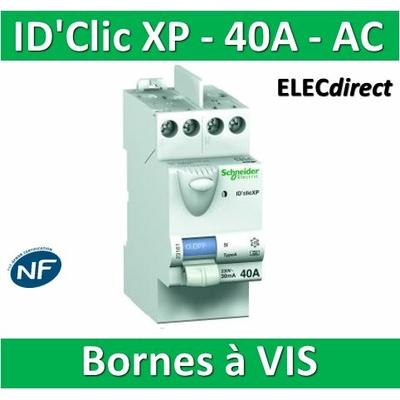 SCHNEIDER - Inter différentiel  D'CLIC XP 2P - 40A - 30ma - Type AC -  23160