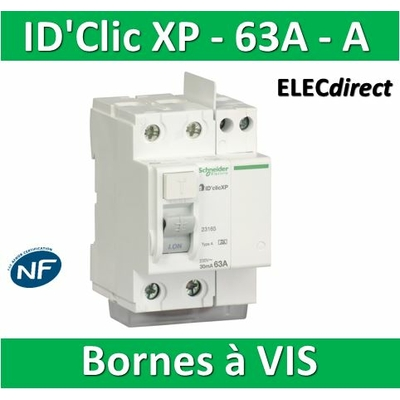 SCHNEIDER - Inter différentiel  D'CLIC XP 2P - 63A - 30ma - Type A - 23156