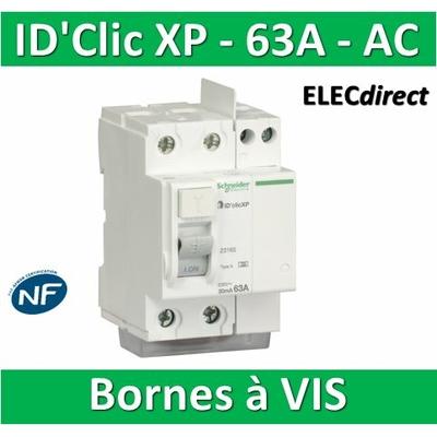 SCHNEIDER - Inter différentiel  D'CLIC XP 2P - 63A - 30ma - Type AC -  23162