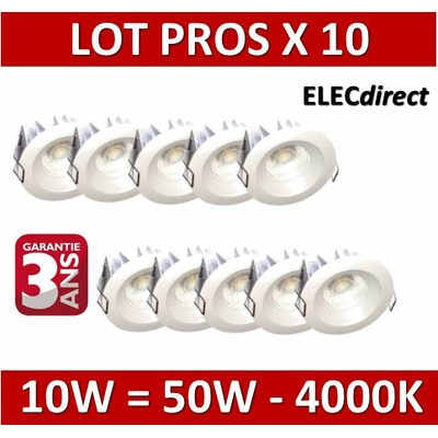 Lited - LOT PROS - Spot LED 10W MonoLED - 4000K - 780lm x10