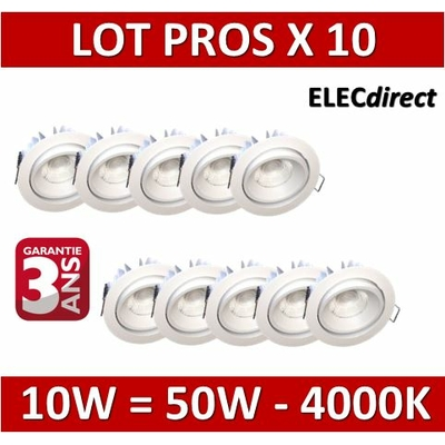 Lited - LOT PROS - Spot LED 10W MonoLED Orientable - 4000K - 780lm x10