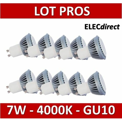 Lited - LOT PROS - Lampe LED 7W - 4000K - Dimmable - 460lm - GU10 x10