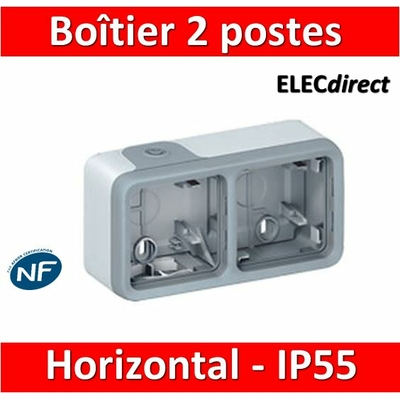 Legrand Plexo - Boîtier 2 postes horizontaux - IP55/IK07 - 069672