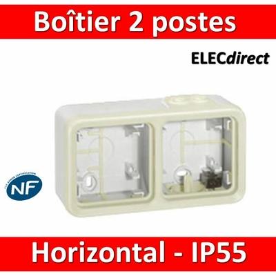 Legrand Plexo - Boîtier blanc 2 postes horizontaux - IP55/IK07 - 069690