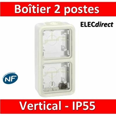 Legrand Plexo - boitier blanc 2 postes verticaux - IP55/IK07 - 069691