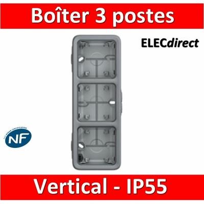 Legrand Plexo - Boîtier 3 postes verticaux - IP55/IK07 - 069679