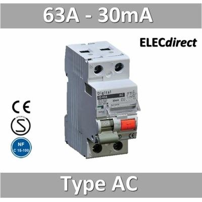 Interrupteur différentiel 2P / 63A / 0,03A (30mA) / type AC
