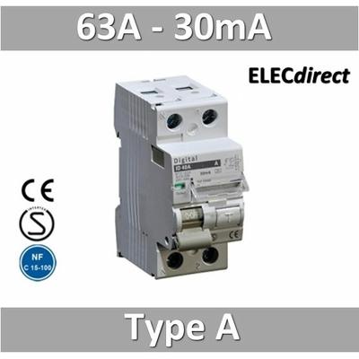 Interrupteur différentiel 2P / 63A / 0,03A (30mA) / type A
