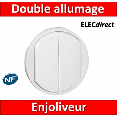 Legrand Céliane - Enjoliveur double allumage blanc - 068002