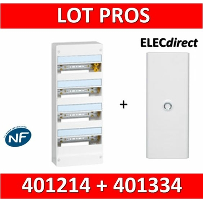 Legrand - LOT PROS - Coffret DRIVIA 52 Modules + porte - largeur 250mm - 401214+401334