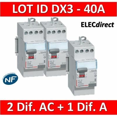 LEGRAND - LOT de 3 inter différentiels DX3 - (2 - ID 2x40A 30mA AC - ID 2x40A 30mA A) 411611x2 + 411617