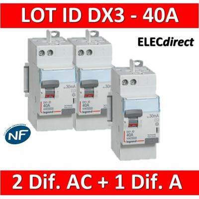 LEGRAND - LOT de 3 inter différentiels DX3 - AUTO - (2 - ID 2x40A 30mA AC - ID 2x40A 30mA A) 411632x2 + 411638