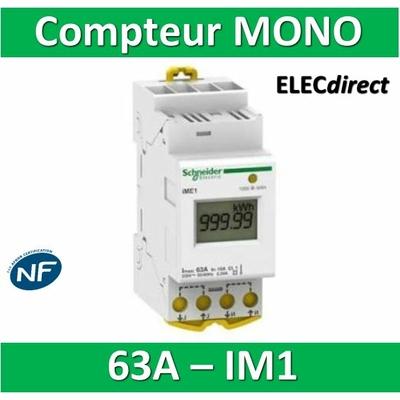 Schneider - Compteur d'énergie 230V - MONO IM1 - 63A - A9MEM2100- Acti 9