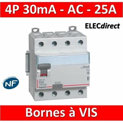 LEGRAND - Interrupteur différentiel DX3-ID 4P 25A - 30mA - AC - 411660