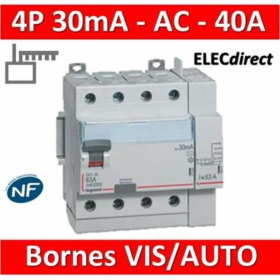 LEGRAND - Interrupteur différentiel DX3-ID 4P 40A - 30mA - AC - Départ Haut - 5M - 411652