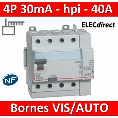 LEGRAND - Interrupteur différentiel DX3-ID 4P 40A - 30mA - HPI - Départ Haut - 5M - 411658