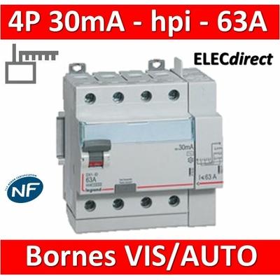 LEGRAND - Interrupteur différentiel DX3-ID 4P 63A - 30mA - HPI - Départ Haut - 5M - 411659