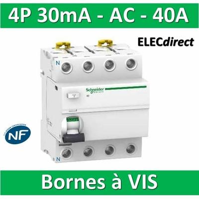 SCHNEIDER - Interrupteur Différentiel 4P - 40A - 30mA - AC - A9R11440