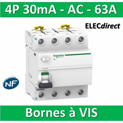 SCHNEIDER - Interrupteur Différentiel 4P - 63A - 30mA - AC - A9R11463