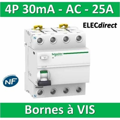 SCHNEIDER - Interrupteur Différentiel 4P - 25A - 30mA - AC - A9R11425