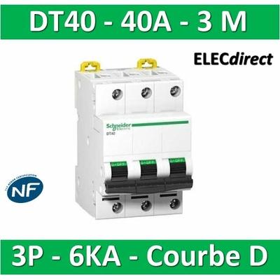Schneider DT40 - Disjoncteur 3P - 40A - 6kA - courbe D - A9N21059