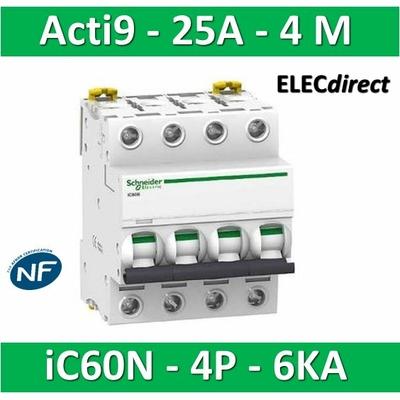 Schneider - Disjoncteur Acti9 - iC60N - 4P - 25A - 6kA - courbe C - A9F77425