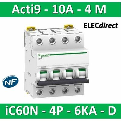Schneider - Disjoncteur Acti9 - iC60N - 4P - 10A - 6kA - courbe D - A9F75410