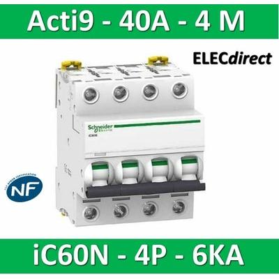 Schneider - Disjoncteur Acti9 - iC60N - 4P - 40A - 6kA - courbe C - A9F77440