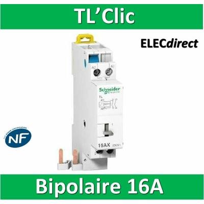 Schneider - Télérupteur TL'clic - Bipolaire 16A - 250V - 16407