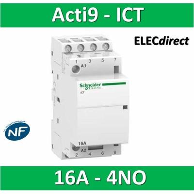 Schneider - Contacteur Acti9 - ICT - 16A - 4NO - 230/240V 50Hz - A9C22814