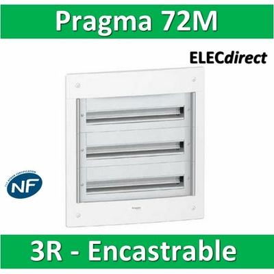 Schneider - Coffret électrique PRAGMA - encastré - 72 modules - 3 rangées 24M - PRA22324W