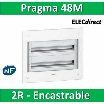 Schneider - Coffret électrique PRAGMA - encastré - 48 modules - 2 rangées de 24M - PRA22224W