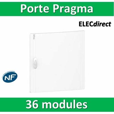 Schneider - Porte opaque blanche coffret PRAGMA IP40/IK09 - 2 rangées de 18 modules - PRA16218